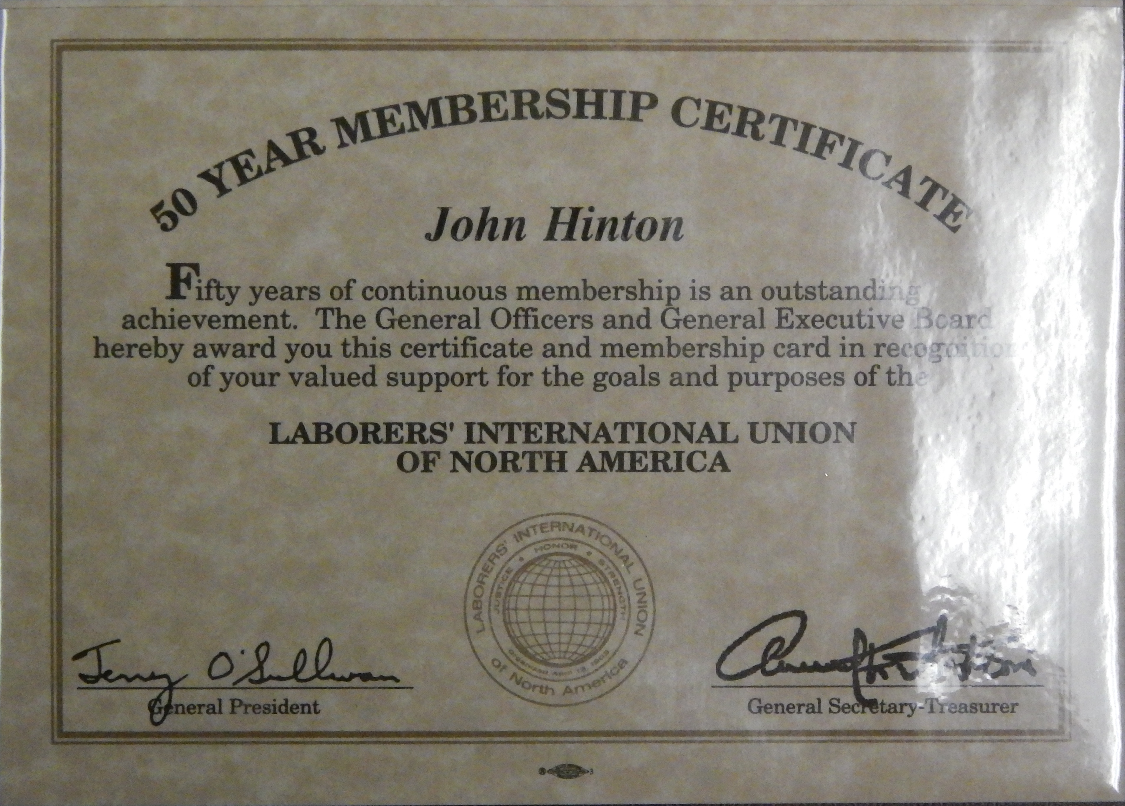 Laborers Local 332 Honors John Hinton For 50 Years of Service!