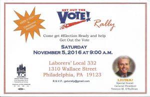 GET OUT THE VOTE RALLY! @ Get Out The Vote Rally | Philadelphia | Pennsylvania | United States